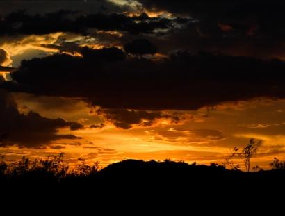 Arizona Desert Hiking Sunset Monsoon