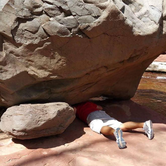 Rusty Ward Old Man Hiking Sedona Arizona Slide Rock